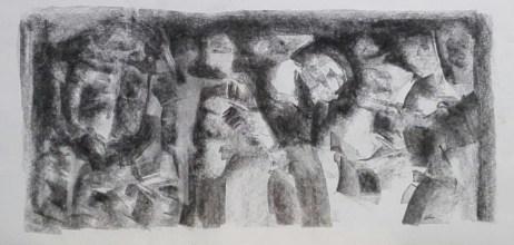 4 Pastel,karton. '' Struktura pozorów'' 13cm x 26,5cm. 2013