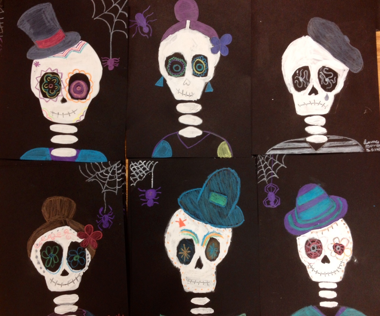 Halloween Art- Painted Skeletons