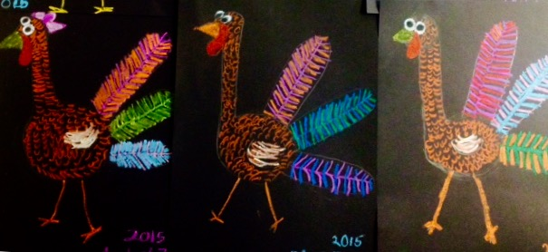 Oil Pastel Texture Turkeys