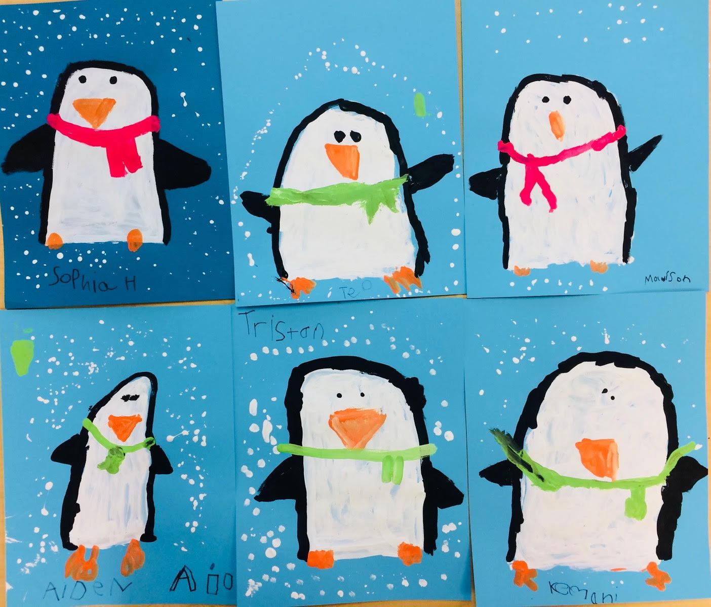 Painted Penguins Winter Art Lesson