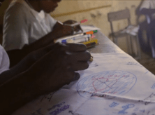 african children doing art therapy