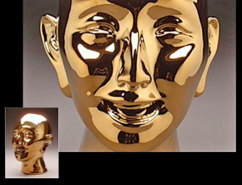 """""""As Buddha"""", porcelain, plated gold, 10"""" x 10"""" x 13"""" inches by Steven Young Lee."""