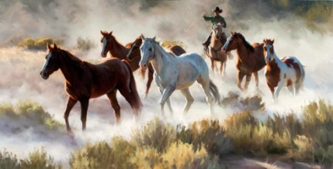 """Trailin' Dust"", oil on linen, 30 x 60 in. ($35,000) by Tom Browning."