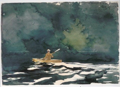 """Paddling at Dusk"" (1892), watercolor with graphite on wove paper, by W. Homer."