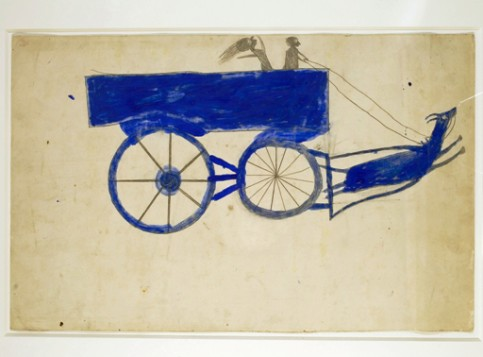 Runaway Goat Cart, c. 1939-42. Bill Traylor, American, c. 1853-1949. Opaque watercolor and graphite on cream card, 14 x 22 inches