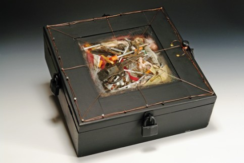 """Box of Nightmares"", mixed media assemblage, by William Murray."