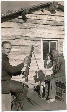 David Humphreys Miller is shown painting Joseph White Cow Bull in 1939. White Cow Bull is believed to have been the warrior to kill General George Armstrong Custer at the Battle of Little Bighorn.