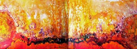 """Lavender Sand Storm"", acrylic, 96"" x 36"", by Lana Sokooff."