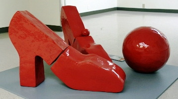 """Red Shoes"", sculpture, by Patricia Feber."