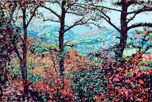 """Autumn Over Warm Springs"" by Frederick Nichols, silkscreen, 1994."
