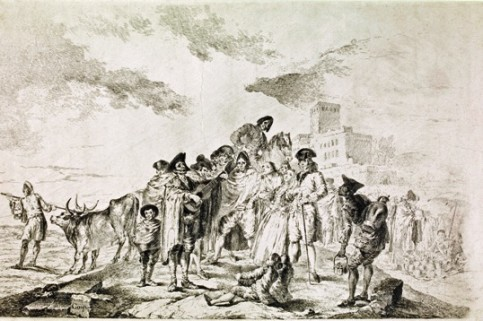 """The Blind Guitarist"", 1788 by Francisco Goya (1746-1828), print, 390 x 570 mm."