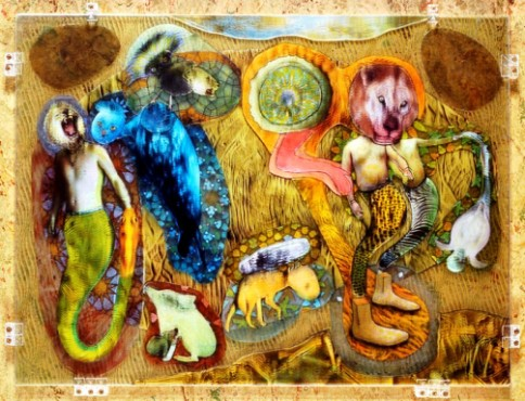 """""""Circle Of Fiends Ur Painting"""", acrylic on glass, 21 x 32.5 x 1.25 inches by Russell Prather."""