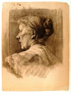 Woman in Profile by Minerva Josephine Chapman (1858-1947), charcoal on cream laid paper, 22 1/8 x 16 3/4 inches, undated.