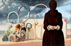"""""""The Dark Figure"""", 1938. oil on canvas, 17 3/8 x 26 ¼ in., by Federico Castellón (1914–1971). Whitney Museum of American Art, New York; purchase 42.3.Digital Image © Whitney Museum of American Art."""