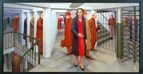 """The Subway"", 1950, egg tempera on composition board, 18 1/8 x 36 1/8 in., by George Tooker (1920-2011). Whitney Museum of American Art, New York; purchase, with funds from the Juliana Force Purchase Award 50.23. Courtesy of the Estate of George Tooker and DC Moore Gallery, N.Y. Photography by Sheldan C. Collins."