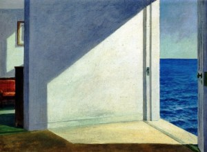 "Hopper approaches Surrealism with ""Rooms by the Sea"" (1951), oil on canvas, 29 1/4 x 40 in., where an open door gives a view of the ocean, without an apparent ladder or steps and no indication of a beach."