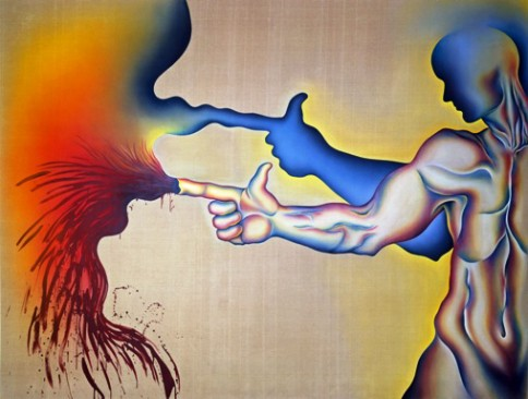 """In the Shadow of the Hand Gun"" from PowerPlay, 1983 sprayed acrylic and oil on Belgian linen, by Judy Chicago. New Mexico Museum of Art Private Collection."