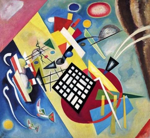 """""""Black Grid"""", 1922. Oil on canvas. Collection Centre Pompidou, Musée national d'art moderne, Paris, Bequest of Mrs. Nina Kandinsky in 1981, AM 81-65-44. Photograph © Centre Pompidou, MNAM-CCI/Service de la documentation photographique du MNAM / Dist. RMN-GP © ADAGP, Paris, by Wassily Kandinsky."""