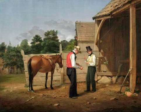 """Bargaining for a Horse"", 1835. Oil on canvas by William Sidney Mount (1807–1868). The New-York Historical Society, Gift of The New-York Gallery of the Fine Arts."