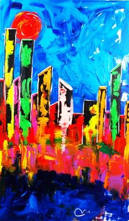 """Vegas Strip"", acrylic on museum stretched canvas; 60x36x3"", 2014 by Mac Worthington."
