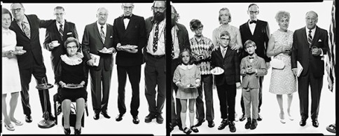 SHOWN: Allen Ginsberg's family: Hannah (Honey) Litzky, aunt; Leo Litzky, uncle; Abe Ginsberg, uncle; Anna Ginsberg, aunt; Louis Ginsberg, father; Eugene Brooks, brother; Allen Ginsberg, poet; Anne Brooks, niece; Peter Brooks, nephew; Connie Brooks, sister-in-law; Lyle Brooks, nephew; Eugene Brooks; Neal Brooks,nephew; Edith Ginsberg, stepmother; Louis Ginsberg, Paterson, New Jersey, May 3, 1970; Photograph by Richard Avedon;© The Richard Avedon Foundation; From the Collection of The Israel Museum, Jerusalem; Gift of the American Contemporary Art Foundation, Leonard A. Lauder, President, to American Friends of the Israel Museum.
