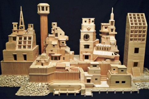 """Toothpick City"" (2014), wood, by Bob Morehead."