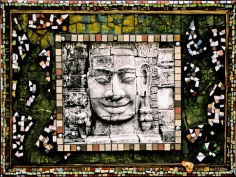 """Bunyon Buddha"",  mosaics and photography  45 x 36 inches, by Anita Rosenberg."