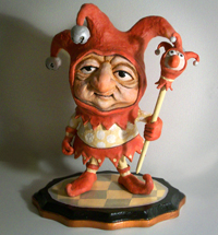 Surely You Jest, paper mache mixed media, by Steve Sack.