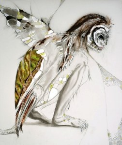 Turtle Owl Woman; graphite, charcoal, acrylic, and oil on frosted mylar; by Paula Barkmeier.