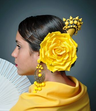 Marta and Susan Pérez, aka Hermanas Peregrino, Accoutrements for feria ensemble: peine (hair comb), flor (flower), abanico (fan), pedientes (earrings), Sevilla, Spain, 2008. Cotton, wood, plastic, metal. IFAF Collection, Museum of International Folk Art (FA.2008.71.3-5, earrings FA.2008.36.1v). Photo by Blair Clark. Collection Museum of International Folk Art. Photo Blair Clark.