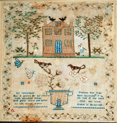 Frances Roe (Savannah, Georgia), Sampler, ca. 1815. Georgia Museum of Art, University of Georgia; Museum purchase with funds provided by the Chaparral Foundation, Linda and David Chesnut, and Robert and Suzanne Currey. GMOA 2014.50.