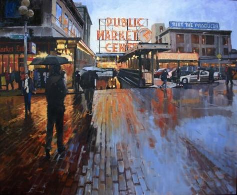 Market Lights Seattle Cityscape, oil on canvas, Robin Weiss
