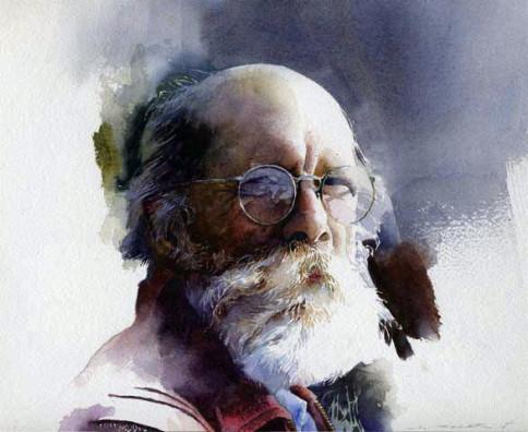 """Nick's Gaze"" , watercolor, 16 x 20 inches, Stan Miller."