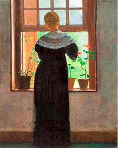 """""""An Open Window"""", 1872, oil on canvas, 17 7/8"""" x 13 7/8"""" by Winslow Homer (United States, 1836-1910), Portland Museum of Art, Maine. 2015.21."""