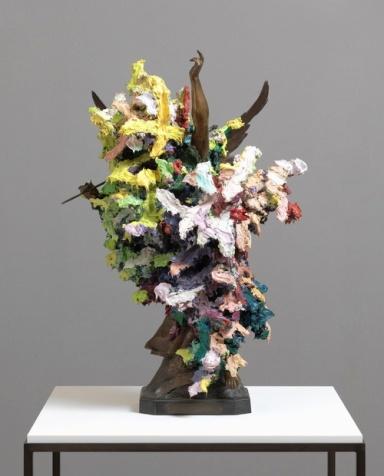 Chevalier, 2015, by Glenn Brown, oil paint over acrylic and bronze, vitrine, 92 x 60.5 x 40.5 cm, vitrine 108.5 x 75 x 75 cm, table 89 x 75 x 75 cm.