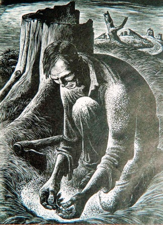 """""""Seedling"""" by Lynd Ward, wood engraving, 8 x 6 inches."""