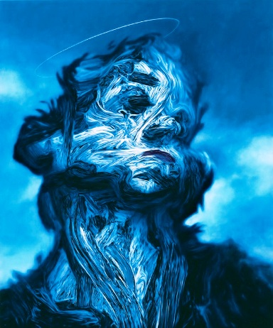 """Shadow Deaths"" by Glenn Brown, 2000, oil on panel, 70 x 57 cm."