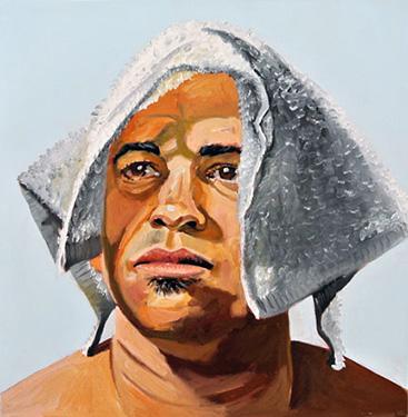 """Raghead I"", 2015, formatting, oil on canvas, 20 x 20 x 1.5 inches, by Michael Dixon."