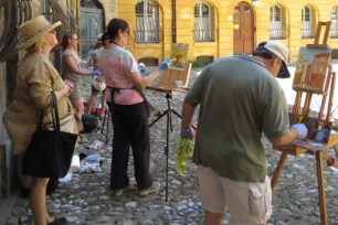 Painting the fountain in Aix