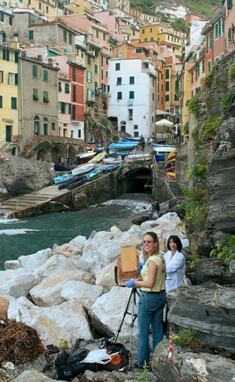Painting the harbor in Riomaggiore