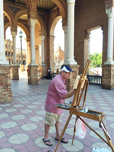 Staking out a place to paint in Seville