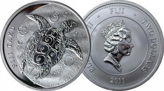 """Фиджи, 2 доллара из серебра - один из финалистов среди """"художественных"""" монет"""