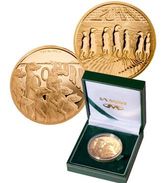 ЮАР, 50 рандов с изображенными на них сурикатами. Лучшая монета, выпущенная из золота