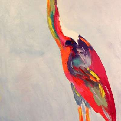 "Blue Heron. OIL. 16""X48"". sold."