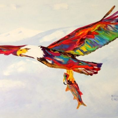 "Bald eagle. Oil. 24""X36"" Original SOLD."