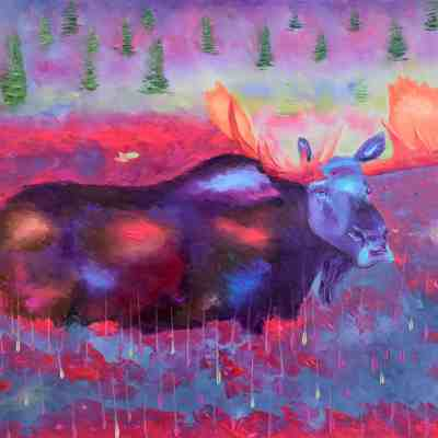 "Moose of Love. 24""X30"". Oil. Original available for sale."