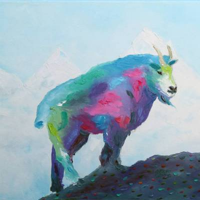 """Mountain Goat. Oil. 16""""X20"""" Original Available for Sale."""
