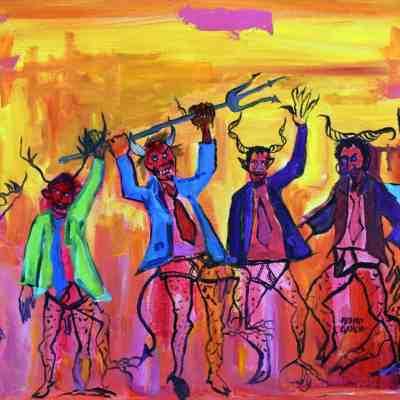 """La Danza de los Diablos. Mixed Media. 20""""X16"""" Original Available for Sale."""