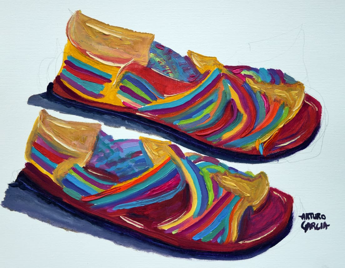 "Mis Huaraches. Oil. 12""X16"" NAFS"