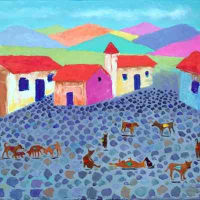 """Pueblo Magico. Oil. 16""""X20"""""""